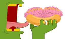 Zombies Eating Hot Dog With Brains. Fast Food For Green Dead. Bu