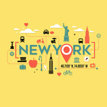 New York City Icons And Typogr...