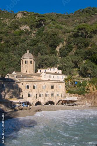 Fotografie, Obraz  Romanesque Abbey of San Fruttuoso near Portofino Genoa Liguria Italy
