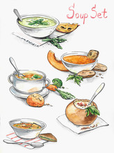 Collection Of Different Soups - Cheese, Pumpkin, Bacon, Potato