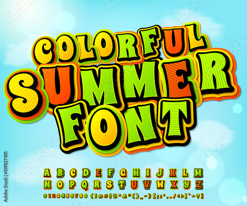 Poster Pop Art Colorful summer comic font. Comics, pop art