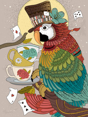 Fototapeta magician parrot adult coloring page