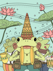 Plakat frogs music band adult coloring page