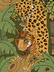 Obraz na Szkle Lew jungle leopard coloring page