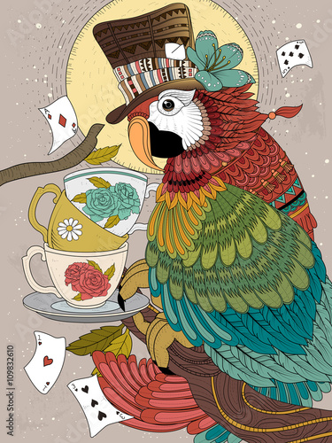 magician parrot adult coloring page - 109832610