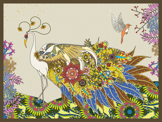 Fototapeta floral feather peacock coloring page