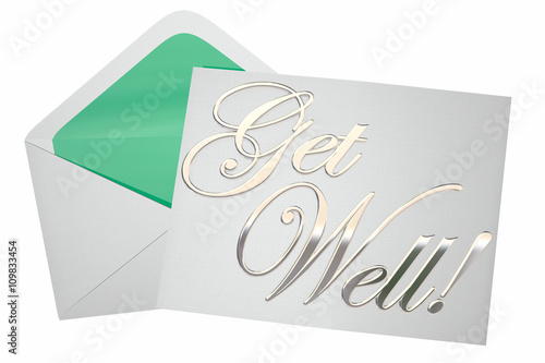 Valokuva  Get Well Soon Wishes Card Note Letter Envelope 3d Illustration