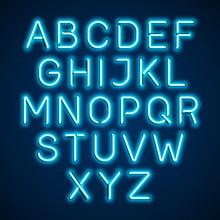 Blue Neon Light Glowing Alphabet