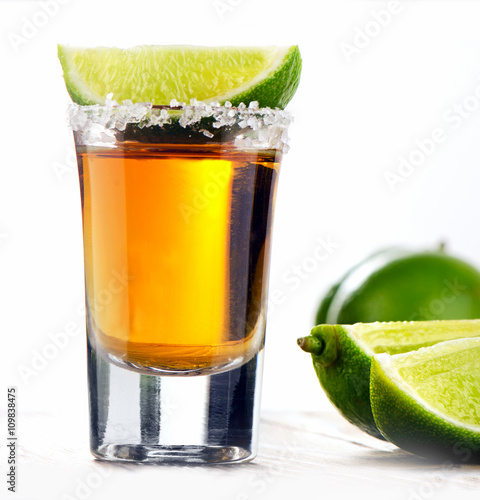 Fotografie, Obraz  Tequila shot with lime