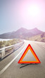 3D Red warning triangle. Caution Warning triangle on a speedy road. Attention sign.