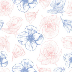 Vector seamless pattern. Hand drawn poppy flower illustration. Rose quartz and serenity floral seamless pattern