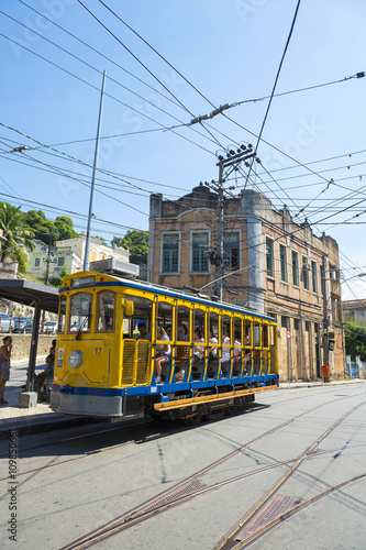 Old-fashioned bonde tram travels the streets of Santa Teresa in Rio de Janeiro, Brazil