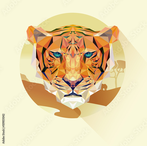 Photo  Vector portrait of tiger polygonal style
