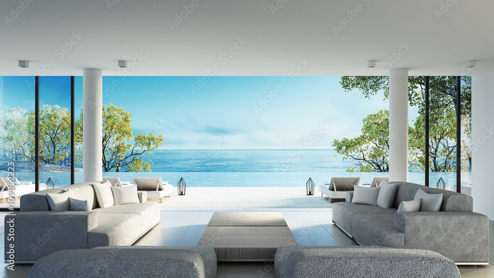 Fototapeta Beach living on Sea view / 3d rendering