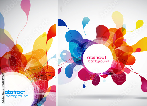 Set of abstract colored backgrounds with leafs. #109857060