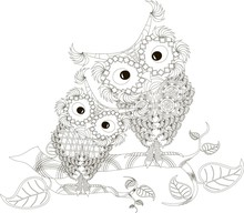 Zentangle Stylized Black And White Two Owls Sitting On The Tree Branches, Hand Drawn, Vector Illustration