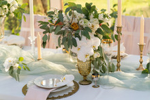 Beautifully Decorated Table With Flowers