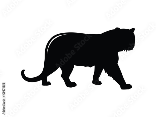 Tuinposter Panter Tiger Black Silhouette