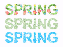 Word Spring In Floral Font Vector