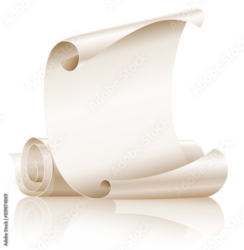Ancient scroll vector on white background Poster