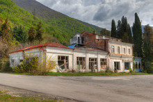 "Abandoned Restaurant ""Gagra"" On The Background Of Mountain Slopes, Gagra, Abkhazia, HDR Processing."