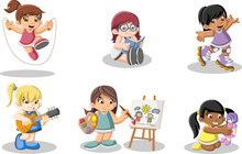 Cute Happy Cartoon Girls Playing. Sports And Toys.