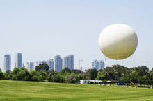 Hot Air Balloon In A Park In Tel Aviv, Israel.