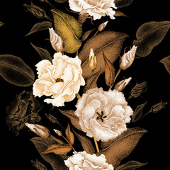 Panel Szklany Vintage Floral seamless pattern.
