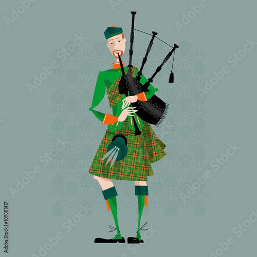 Leinwand Poster Scottish Bagpiper in uniform. Scottish tradition.