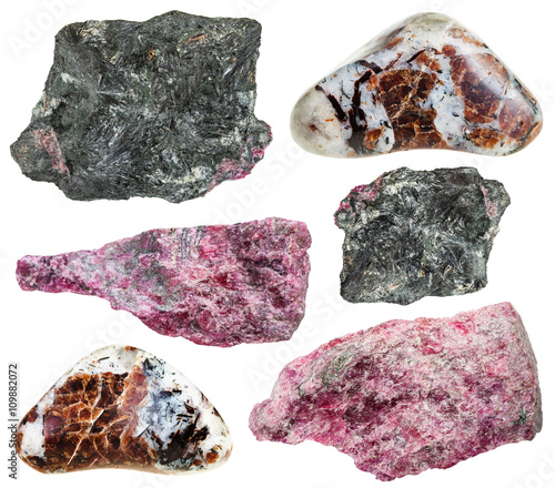 set of various eudialyte natural mineral stones Tapéta, Fotótapéta