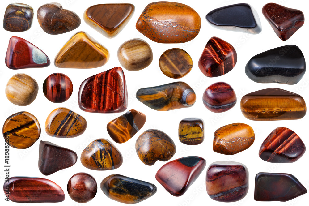 Photo  set of various tiger-eye natural mineral stones