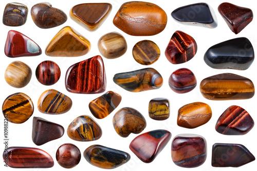 set of various tiger-eye natural mineral stones Canvas Print