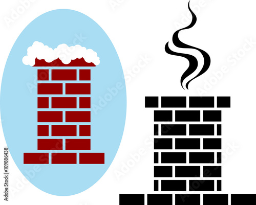 Brick Chimney Icon Snow Fototapeta