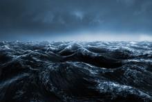 Composite Image Of Dark Blue Rough Ocean