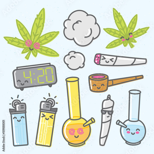 Fotografie, Obraz Marijuana kawaii cartoon vector objects pack