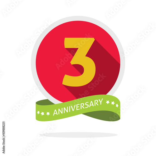 anniversary 3rd logo template with a shadow on red circle and yellow