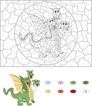 Cartoon Three Headed Dragon. Color By Number Educational Game Fo