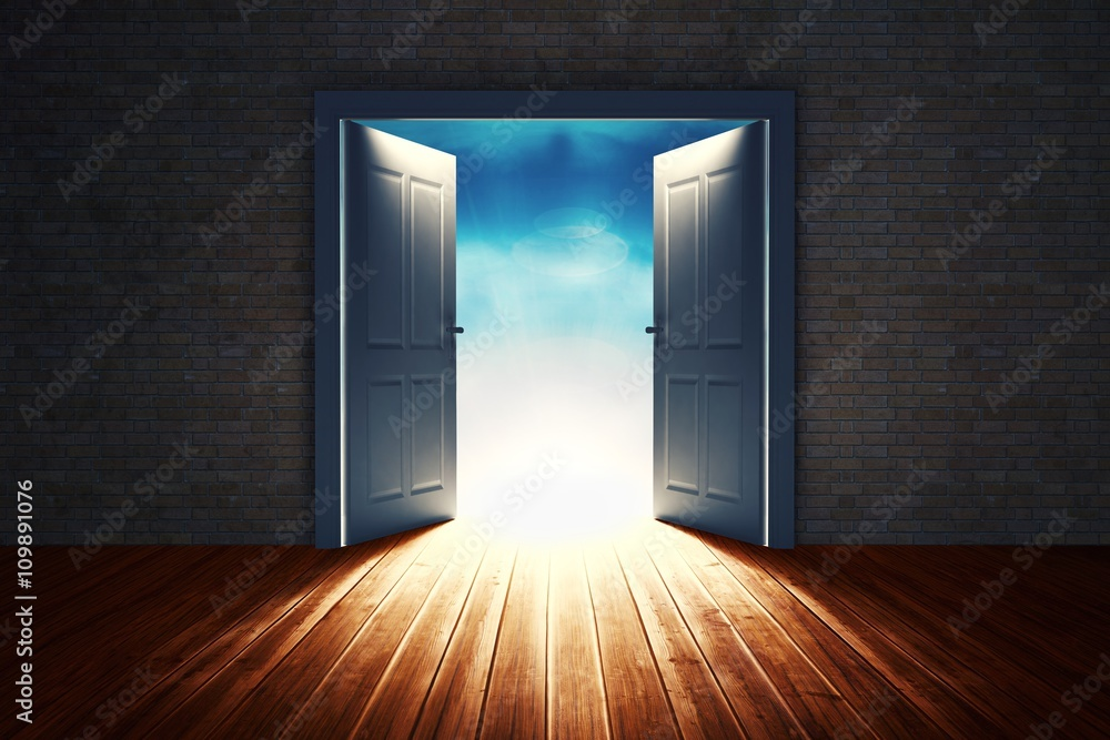 Fototapety, obrazy: Composite image of open big door on wall