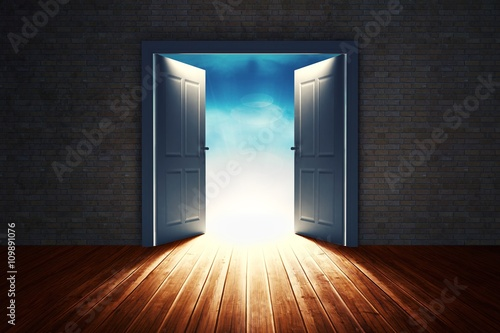 Fotografie, Obraz  Composite image of open big door on wall