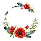 Watercolor floral wreath - 109896060