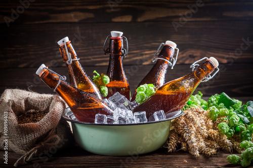 Tuinposter Bier / Cider Fresh cider beer on cold ice