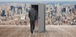 Composite image of businessman walking