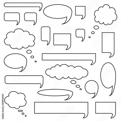 Fotografering  Blank empty speech bubbles, icon set, outlined isolated on white background, vector illustration