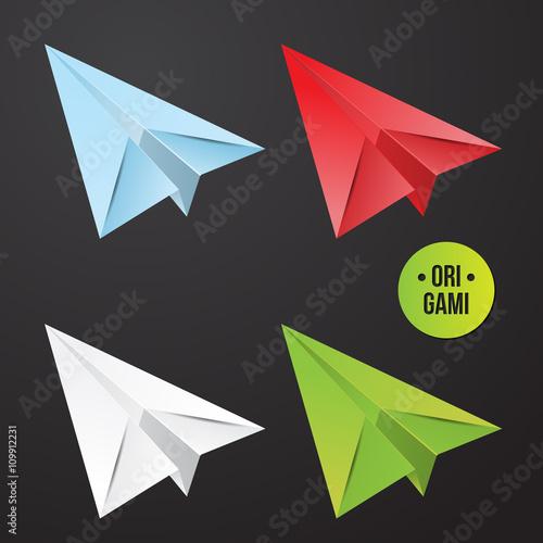 Fototapeta Vector paper origami plane icon. Colorful origamy set. Paper design for your identity. obraz na płótnie