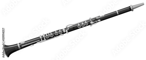 Leinwand Poster Clarinet on white background
