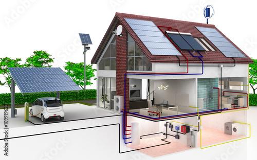 Fotografie, Obraz  Einfamilienhaus Energieversorgung