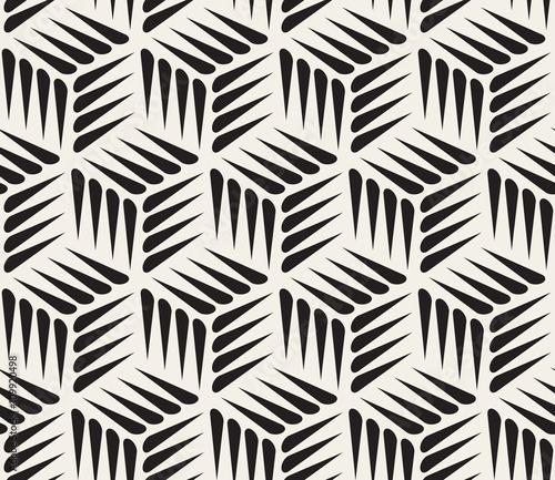 Fototapeta na wymiar Vector Seamless Black and White Thorn Shape Cubic Geometric Pattern