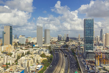 Tel Aviv City Skyline And Ayalon Freeway At Cloudy Day
