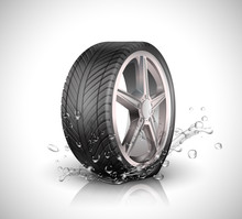 Car Wheel With Splashing Water In Motion Blur On White Background .Vector Illustration