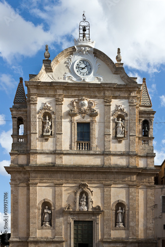 Fotomural Alcamo - Church of Jesus , baroque style facade, Sicily